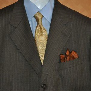 Canali Brown Pinstripe Suit Super 120's Nr Mint
